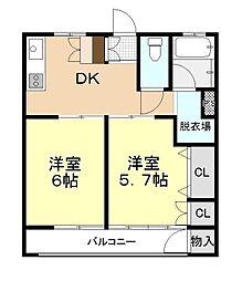 南中央マンション[401号室]の間取り