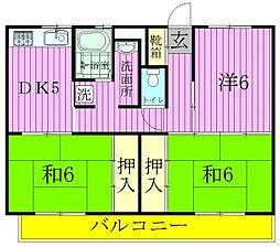 ビレッジハウス串崎[2-304号室]の間取り