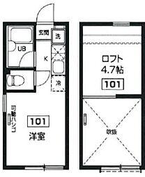 東京都新宿区上落合2丁目の賃貸アパートの間取り