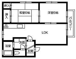 カルテットハウス[2階]の間取り