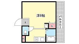 ロイヤルイン六甲[4階]の間取り