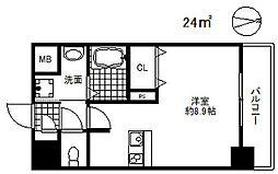 ファーストフィオーレ三宮イースト2 3階1Kの間取り
