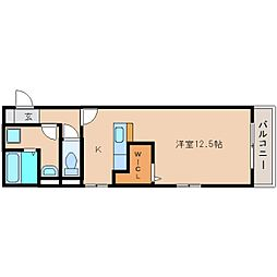 静岡鉄道静岡清水線 新清水駅 徒歩5分の賃貸アパート 2階ワンルームの間取り