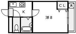 メゾンフルール堺東[202号室]の間取り
