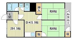 兵庫県姫路市御国野町国分寺の賃貸マンションの間取り