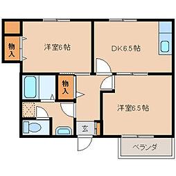 奈良県奈良市大安寺の賃貸アパートの間取り