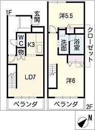ヒルサイド岩崎台[2階]の間取り