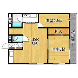 シャトー吉崎[1階]の間取り