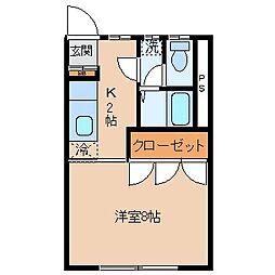 長野県茅野市豊平の賃貸アパートの間取り