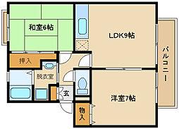 サンビレッジOKUNO A棟[1階]の間取り
