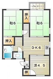 七里ハイツ2[2階]の間取り
