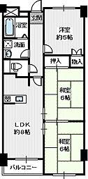 アデューウエダ[3階]の間取り