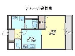アムール高松東[1階]の間取り