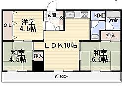 サンキュービル[4階]の間取り