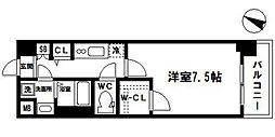 フォーリアライズ大阪ウエストベイ 3階1Kの間取り