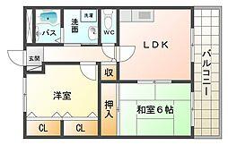 大阪府大阪市平野区喜連東3丁目の賃貸マンションの間取り