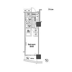 東京メトロ千代田線 赤坂駅 徒歩3分の賃貸マンション 2階1Kの間取り