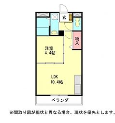 愛知県一宮市篭屋5丁目の賃貸アパートの間取り
