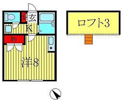千葉県柏市逆井の賃貸アパートの間取り