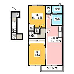静岡県焼津市高新田の賃貸アパートの間取り