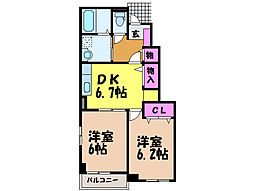 愛媛県伊予郡砥部町麻生の賃貸アパートの間取り
