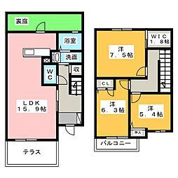 [テラスハウス] 愛知県名古屋市名東区新宿2丁目 の賃貸【愛知県 / 名古屋市名東区】の間取り