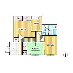 コーポ駒ヶ原[2階]の間取り