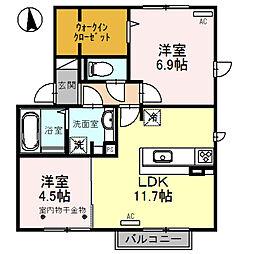 (仮称)D-room福 C棟[2階]の間取り