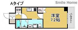 南海線 岸里玉出駅 徒歩6分の賃貸マンション 4階1Kの間取り