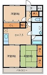 グランペールマンション[202号室]の間取り
