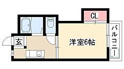 愛知県名古屋市天白区植田南1丁目の賃貸アパートの間取り