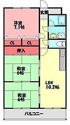 エムズコートソフィーナ 2階3DKの間取り
