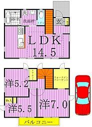[テラスハウス] 千葉県柏市大室 の賃貸【千葉県 / 柏市】の間取り