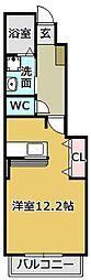 グランツ道 1階ワンルームの間取り