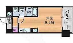 レジュールアッシュ天神橋 9階ワンルームの間取り