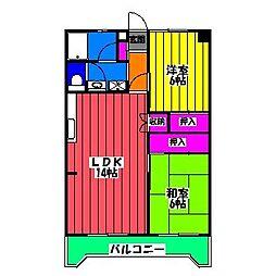 福岡県福岡市南区清水3の賃貸マンションの間取り