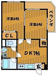 東京都小金井市貫井北町の賃貸マンションの間取り