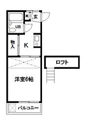 東京都府中市本町4丁目の賃貸アパートの間取り