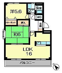 奈良県奈良市朱雀1丁目の賃貸マンションの間取り