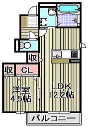 メゾン・ド・ボヌール秀B棟[1階]の間取り