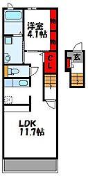JR鹿児島本線 新宮中央駅 徒歩15分の賃貸アパート 2階1LDKの間取り