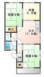 兵庫県加古川市別府町新野辺北町3丁目の賃貸アパートの間取り