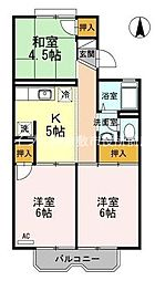 岡山県倉敷市沖新町の賃貸アパートの間取り
