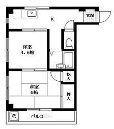 神奈川県横浜市鶴見区生麦1丁目の賃貸マンションの間取り