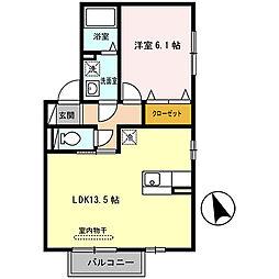 兵庫県姫路市亀山2丁目の賃貸アパートの間取り