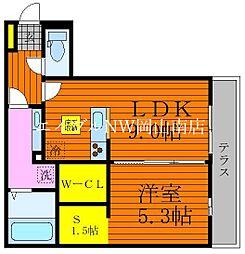 JR宇野線 大元駅 徒歩16分の賃貸アパート 1階1SLDKの間取り