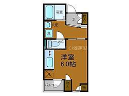 近鉄難波線 大阪上本町駅 徒歩2分の賃貸マンション 5階ワンルームの間取り