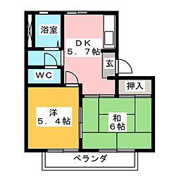 コーポさくら[1階]の間取り