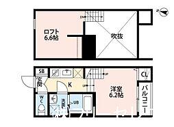 福岡県春日市上白水6丁目の賃貸アパートの間取り