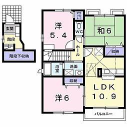 福岡県北九州市八幡西区八枝3丁目の賃貸アパートの間取り